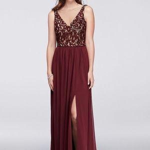 David's Bridal Illusion V-Neck Lace & Mesh Dress